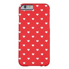 Red & White Hearts Pattern iPhone 6 case
