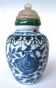 Antique Chinese Blue and White Porcelain Snuff Bottle (item #1269349)