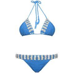 Anna Kosturova Seashore crochet bikini ($248) ❤ liked on Polyvore featuring swimwear, bikinis, crochet bikini, halter top bikini swimwear, halterneck bikini top, bikini swimwear and halter-neck tops