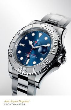 Rolex Yacht-Master 40 mm in 904L steel and platinum with a rotatable graduated bezel, blue dial and Oyster bracelet. #RolexOfficial