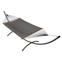 Phat Tommy Sunbrella Dupione Deluxe Hammock and Pewter Arc Hammock Stand Set Indigo Luxe - 391-ARC.PEWTER.INDIGOLUXE