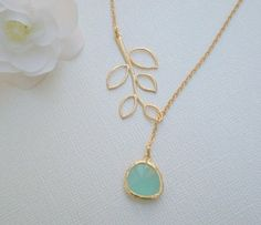 Gold Lariat Necklace  Gold Leaf and Aqua Czech Glass by DanaCastle, $27.00