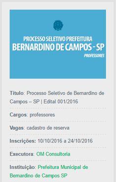 O período de inscrições para o Processo Seletivo de Bernardino de Campos, São Paulo, já está aberto.
