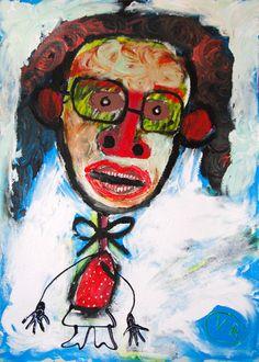 """""""Autorretrato"""" de Victoria Barranco @ VirtualGallery.com Pintura acrílica sobre cartón de 50x70 cm (19.7x27.6 in). Arte marginal. Autorretrato. (2015)-"""