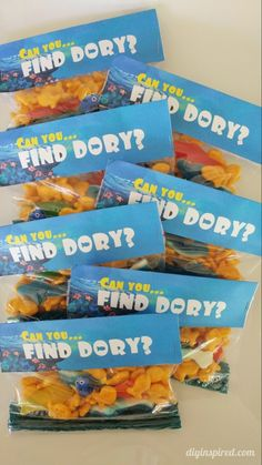 Finding Dory Party Favors with FREE Printable - Can you find Dory??