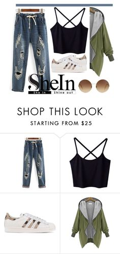 """JEANS_SHEIN_SIMPLE_LOOK"" by karolinaaa14 ❤ liked on Polyvore featuring WithChic, adidas Originals, Hooded Trench, Victoria Beckham and shein"