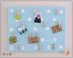Blue Polka Dot, Bulletin Board Dolls Clothes Display, Memo Holder, Kids Room Organizer, Wall Art Teens Room, Girls Sky Blue Room Wall Art by ChicMango on Etsy