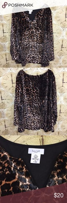 Kate Hill long sleeve Velvety tunic top Kate Hill Cheetah Print Velvety Woman's Long Sleeve Top  Size 3x Sleeve: 24 inches Length: 30 inches Armpit to Armpit: 27 inches Shell: 77% Rayon 23% Nylon Lining: 100% Polyester Kate Hill Tops Tunics