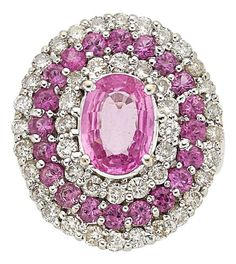 Estate Jewelry:Rings, Pink Sapphire, Diamond, White Gold Ring Th...