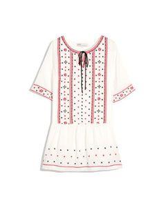 CliPick 的Pazzo 的異國風刺繡圖騰綁帶洋裝