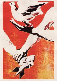 VIETNAMESE PROPAGANDA POSTER ART ( vietnam war / peace / anti war poster )