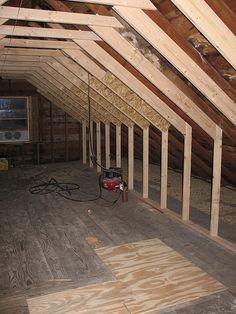 Chimney Removed attic makeover, partial sistering of roof beams Attic Loft, Loft Room, Attic Office, Attic Renovation, Attic Remodel, Roof Design, House Design, Skylight Shade, Roof Beam