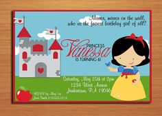 Snow White Princess Birthday Party por Sapphiredigitalworks en Etsy, $15.00