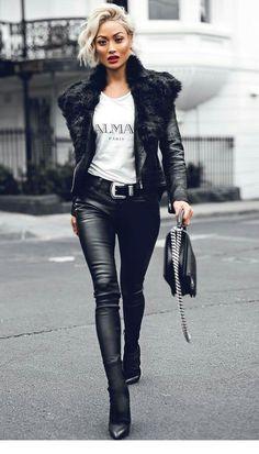 Micah Gianneli in a sexy Balmain Leather Outfit Black And White Outfit, White Outfits, Stylish Outfits, Black Belt, Black Leather Skirts, Look Fashion, Korean Fashion, Winter Fashion, Street Fashion
