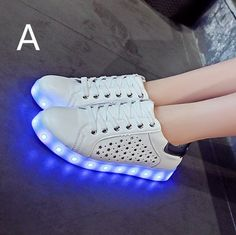 A Style Womens Luminous Shoes Hollow