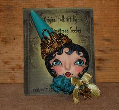 Primitive Folk Art Doll PIN brooch Princess in by ROBIN ARMSTRONG SEEBER of  robinseeber on Etsy
