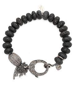 Diamond Clasp Black Lava & Chain Bracelet by 88 by Sandy Simonian  from 88 by Sandy Simonian
