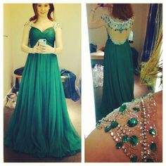 Tried on this Sherri Hill emerald green prom dress at 'GLITZ!' and I fell in love... Too bad it's $450.00 ....