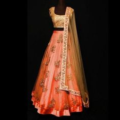 Rust color net Lehenga with golden sequin choli and net dupatta. Zari work on Lehenga and zari work border on dupatta. Thsi can be stitched in any size and color. Perfect to wear as a Bride in Red color. Perfect to wear at the Weddings . Net Lehenga, Indian Lehenga, Lehenga Choli, Anarkali, Plain Lehenga, Gold Lehenga, Floral Lehenga, Lehenga Style, Silk Sarees