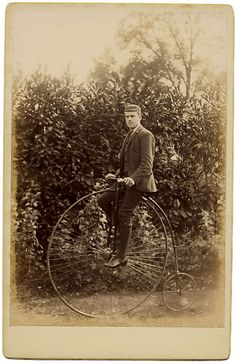 ca. 1870-90, [cabinet card, portrait of a gentleman on his high wheel bicycle] via Stereographica, Antique Photographica