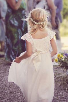 beautiful crochet flower girl dress & babys breath floral crown