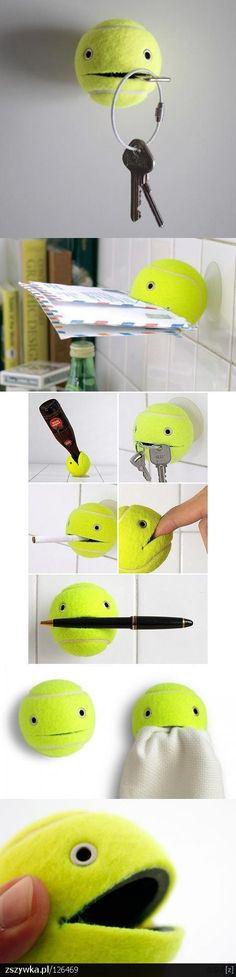 add eye to a tennis ball, and cut a slit for a mouth, can be used to hold pen, keys, mail, Etc. could use as part of a larger project, maybe make a body out of clay