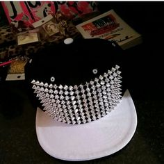 Spiked Snapback 5 panel snapback with silver spike accents. Handmade by Tu Bitxhy Apparel   Black and Light Grey.  Get it for $18 on my official website  http://tubitxhyboutique.com link in my bio tubitxhyboutique.com Accessories Hats