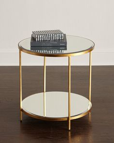 Interlude Nolan Two-Tiered Side Table - ShopStyle Marble Top Coffee Table, Brass Coffee Table, Round Coffee Table, Coffee Table Design, Round Dining Table, Dining Room Table, A Table, Gold Leaf Furniture, Table Furniture