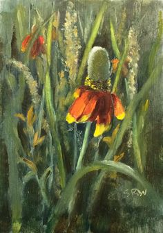Texas Wildflower Series: Mexican Hat and Texas Thistle – En Plein Air Painted Flowers, Art Flowers, Mexican Hat, Arte Floral, Painting Videos, Native Plants, Wildflowers, Painting Inspiration, Twin