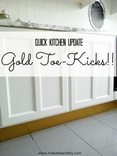 Kitchen toe kicks updated with gold duck tape! Totally non-permanent and reversible, perfect for renters.