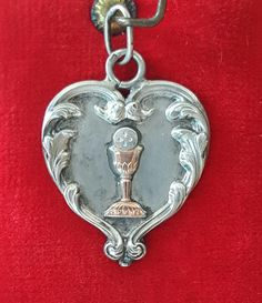 Antique French Silver Engraved Communion Medal Art Nouveau First Communion Engraved SA AS Catholic Religious Silver Heart Free Shipping by PinyolBoiVintage on Etsy