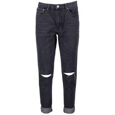 Boohoo Hatty High Rise Knee Rips Boyfriend Jeans ($44) ❤ liked on Polyvore featuring jeans, bottoms, pants, destroyed boyfriend jeans, blue jeans, torn boyfriend jeans, ripped boyfriend jeans and distressed boyfriend jeans