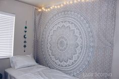 Lady Scorpio Silver Goddess Mandala Tapestry Bedroom Decor