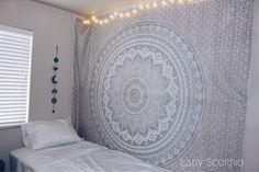 Lady Scorpio Silver Goddess Mandala Tapestry Bedroom Decor