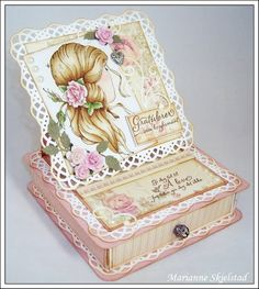 A box, featuring the For Mother collection Shabby Chic Crafts, Vintage Crafts, Vintage Paper, Pretty Cards, Cute Cards, Cardboard Crafts, Paper Crafts, Box Cards Tutorial, Exploding Box Card
