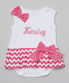 Look at this Magenta Zigzag Personalized Skirted Bodysuit - Infant on #zulily today!