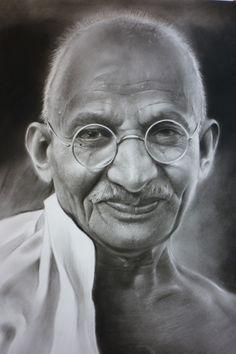 Pencil Portrait Mastery - Retrato de Gandhi en carboncillo 50x70 - Discover The Secrets Of Drawing Realistic Pencil Portraits
