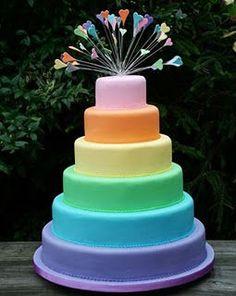 Rainbow fondant cake. Can use the marshmallow fondant recipe!