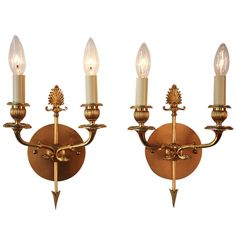 Empire style bronze wall sconces | From a unique collection of antique and modern wall lights and sconces at http://www.1stdibs.com/furniture/lighting/sconces-wall-lights/