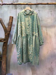 Girlish High-Waist Floral Dress Loose Linen Print Dress  #dress #floral #amazing #mori #girl #spring #linen #flax