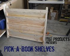 Front-facing bookcase made from pallets