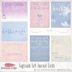 _Tagträume sind die schönsten Träume. Man kann sie sich aussuchen._ ~Aus Griechenland  In diesem Set enthalten sind sieben (bzw. acht inkl. Freebie) Scrapbook Journaling Karten im Format 3x4...
