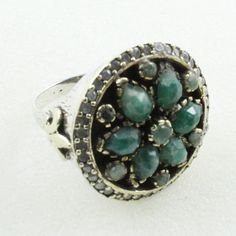 Emerald Agate Stone Unique Design 925 Sterling Silver Ring by JaipurSilverIndia on Etsy