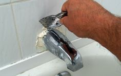 How to Replace a Tub Spout - Step 1 Tub And Shower Faucets, Tub Faucet, Shower Tub, Bathroom Faucets, Concrete Bathroom, Shower Tiles, Bathroom Showers, Martha Stewart, Rustic Bathrooms