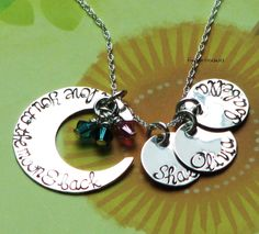 I love you to the moon and back necklace with THREE name charms and birth stones - sterling silver hand stamped. $45.00, via Etsy.