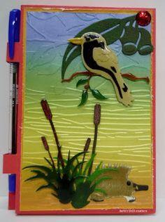 BaRb'n'ShEll Creations-Post it n ote pads-Kookaburra,Echidna-BaRb