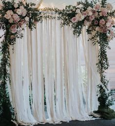 Linen and 100% Cotton Fabric Backdrops are a beautiful soft accent for your wedding or bridal shower. We use a variety of natural tones ranging from soft whites to light tans. Dress it up by adding some lace.  Fabric is cut into strips and tied to a thin cotton cord. Two extra feet of cord at both ends is provided for securing your backdrop to its final destination.  HOW TO ORDER:  1. Choose the quantity of curtains you want 1, 2, 3.....  2 Select the size and fabric types from the drop-down…