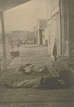 After a gunfight in a Hays, Kansas, saloon in two soldiers lie dead. After a gunfight in a Hays, Kansas, saloon in two soldiers lie dead. Vintage Pictures, Old Pictures, Cowboy Pictures, Us History, American History, Old West Outlaws, Old West Photos, Into The West, American Frontier