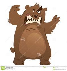 Angry And Funny Cartoon Brown Grizzly Bear Making Attacking Gest ...