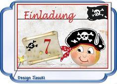 Einladungskarte Kindergeburtstag kleiner Pirat ... von Jasuki auf DaWanda.com